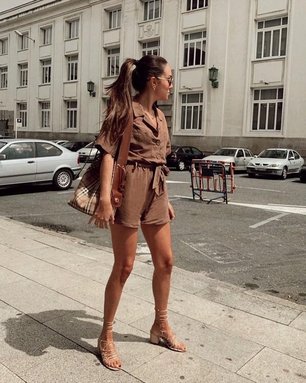 romper short sleeve sandal heels plaid shoulder bag