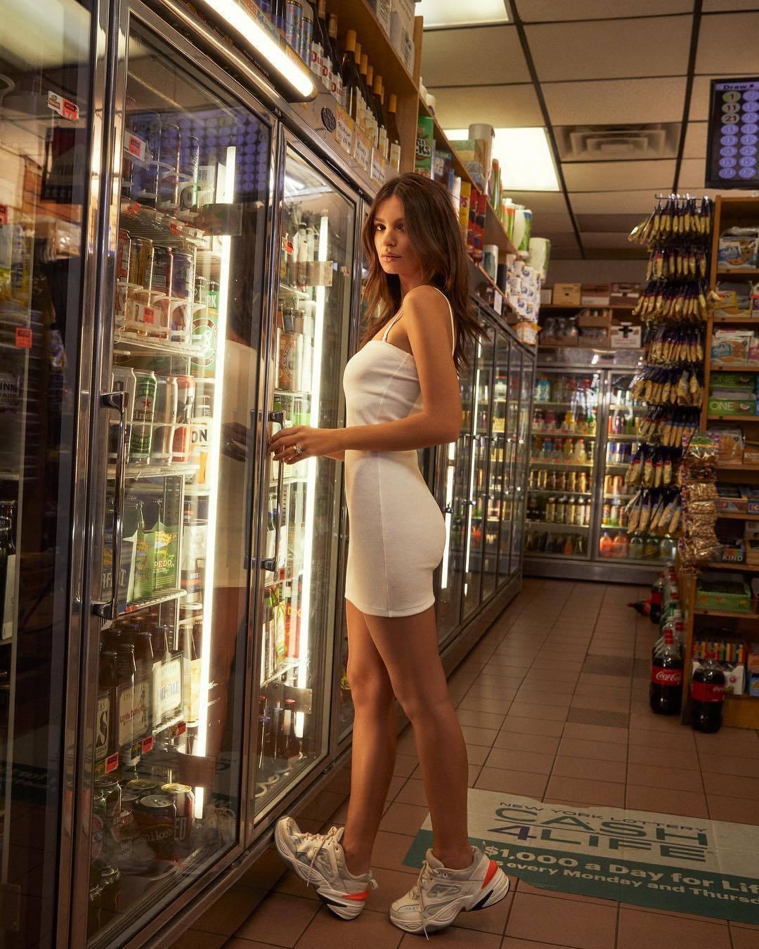 dress white white dress sneakers bodycon dress emily ratajkowski celebrity model summer dress
