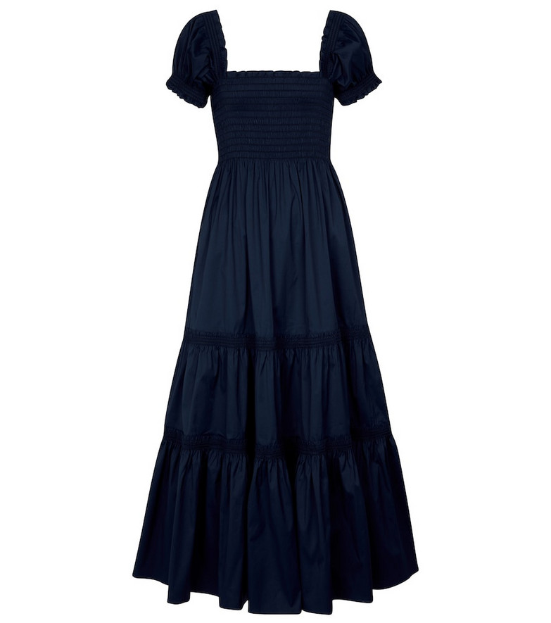 Tory Burch Smocked cotton-blend maxi dress in blue