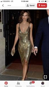 dress,gold dress,emily ratajkowski