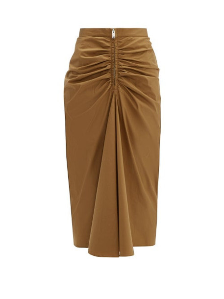 Givenchy - Zip Front Ruched Cotton Blend Midi Skirt - Womens - Camel