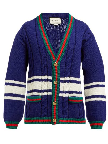 Gucci - La Société Angelique Web Stripe Wool Cardigan - Womens - Blue Multi