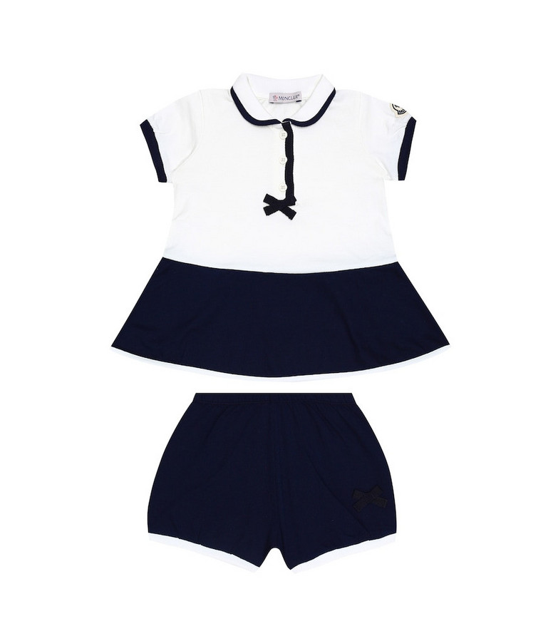 Moncler Enfant Baby cotton dress and bloomers set in blue