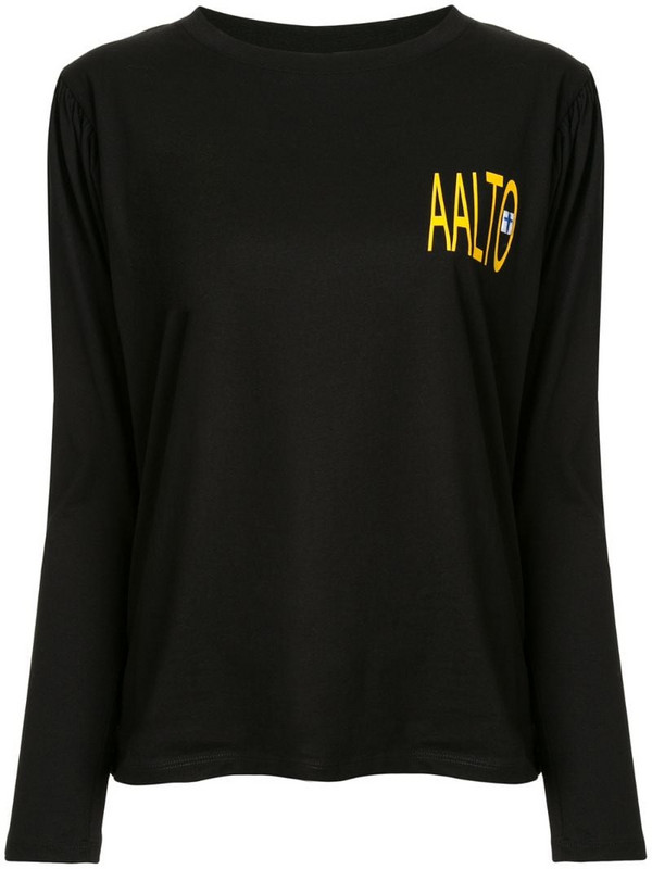 Aalto pleated logo T-shirt in black