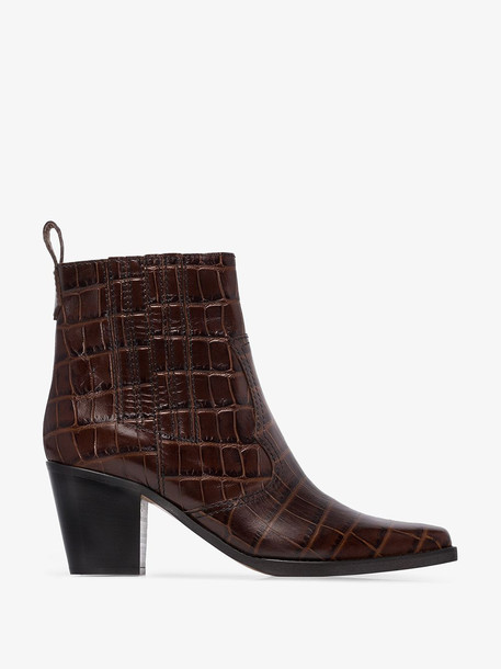 Ganni Brown Pointed Croc Style 75 Cowboy Boot