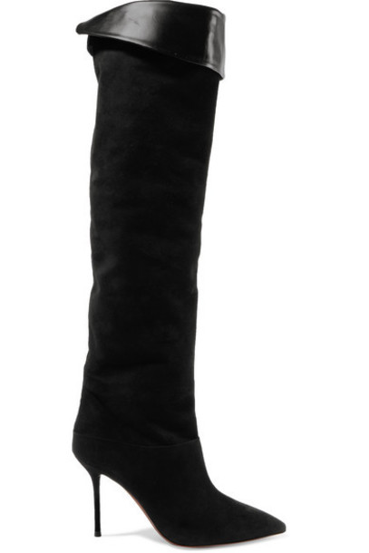 Aquazzura - Lancaster 95 Suede Knee Boots - Black