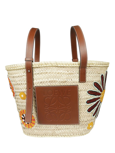 Loewe Basket Flowers Large Tote in brown / beige