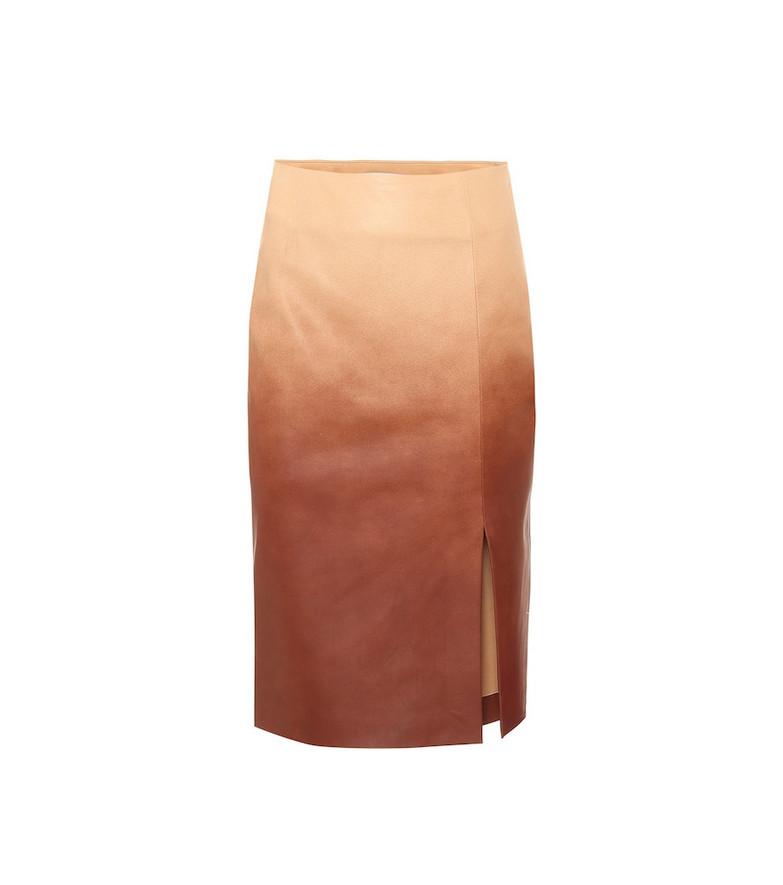Dorothee Schumacher Dégradé leather midi skirt in brown
