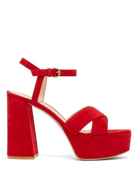 Gianvito Rossi - Tabasco 70 Platform Suede Sandals - Womens - Red