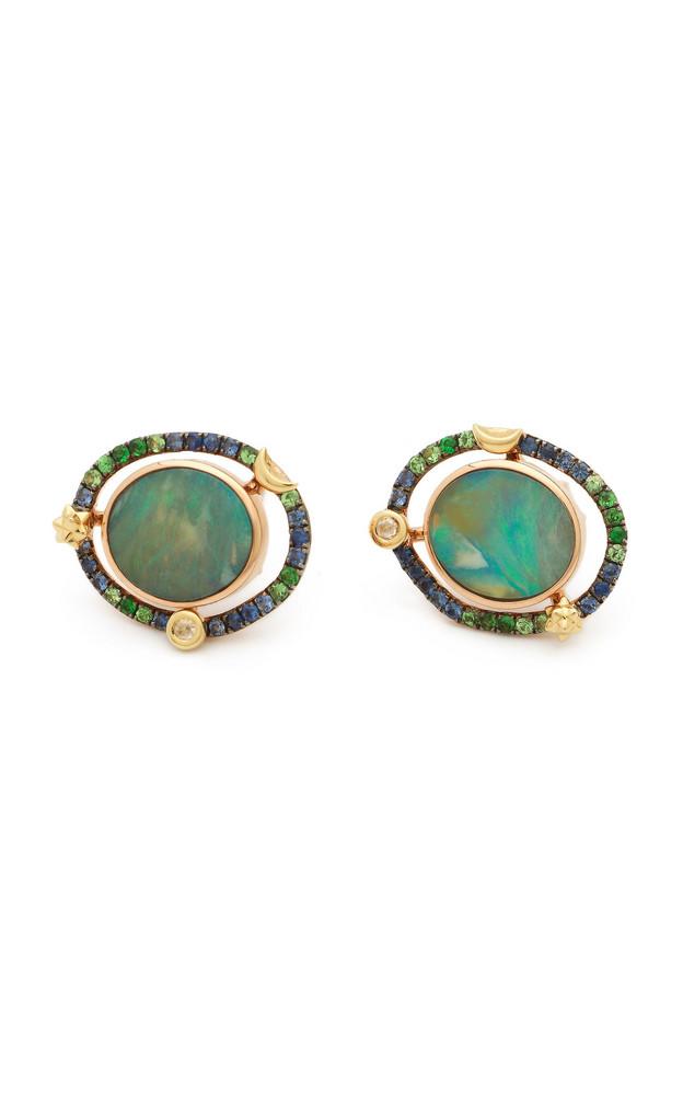 Bibi van der Velden Orb Mini 18K Rose Gold And Multi-Stone Earrings in blue