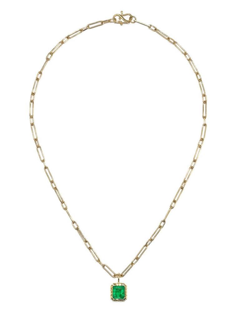 Retrouvaí Retrouvaí emerald pendant diamond-embellished necklace - Gold