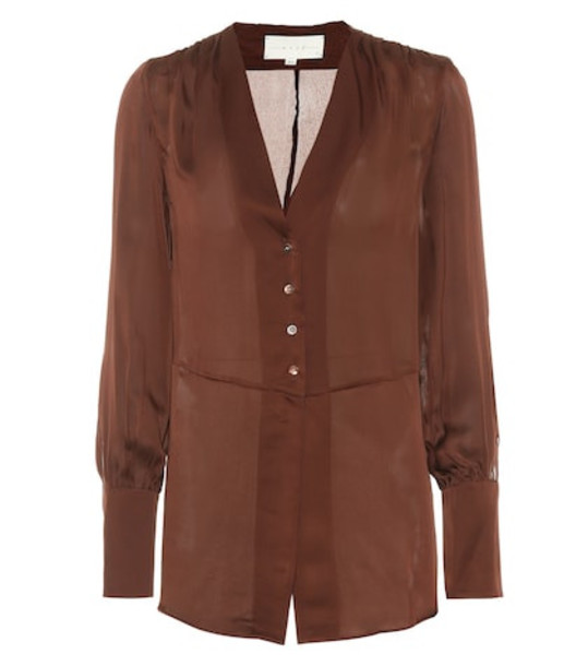 Arjé Gaia silk shirt in brown