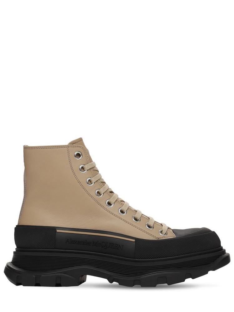 ALEXANDER MCQUEEN 45mm Tread Slick Leather Combat Boots in black / beige