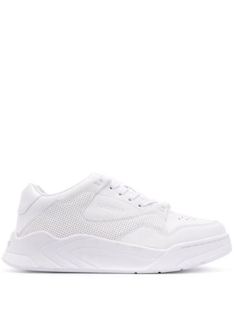 Lacoste eyelet detail lace-up sneakers in white