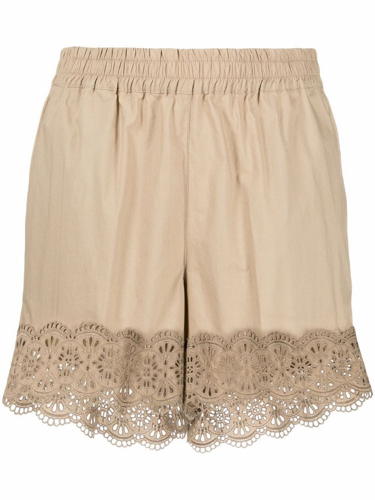 P.A.R.O.S.H. P.A.R.O.S.H. lace-trim shorts - Neutrals