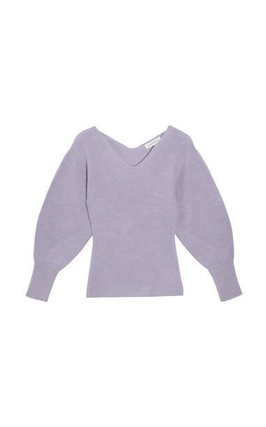 Sayaka Davis Balloon-Sleeve Wool Sweater in purple