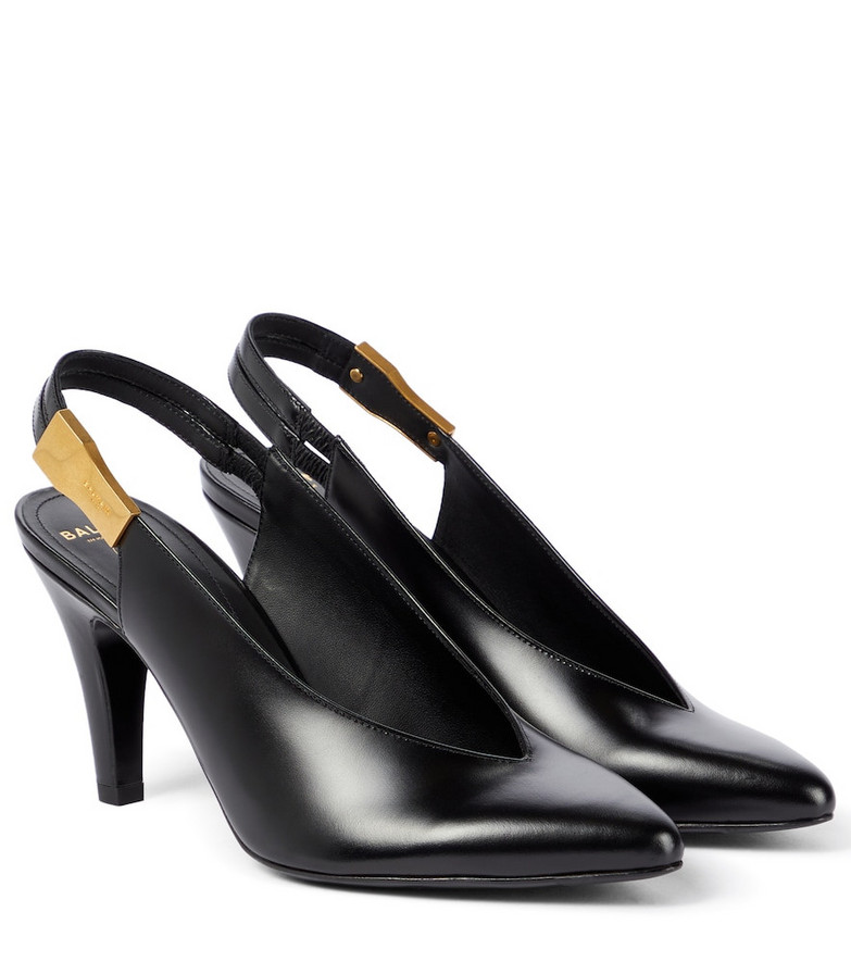 Balmain Leather slingback pumps in black