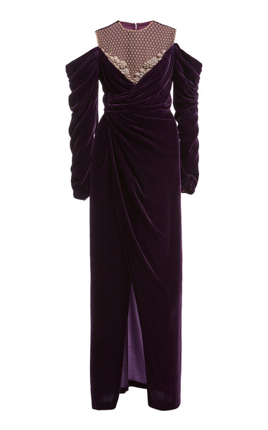 Costarellos Anabelle Embellished Draped Silk Velvet Gown in purple