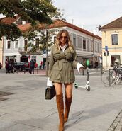 jacket,army green jacket,over the knee boots,white shirt,bag