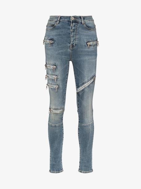 Unravel Project Moonwash multi zip skinny jeans