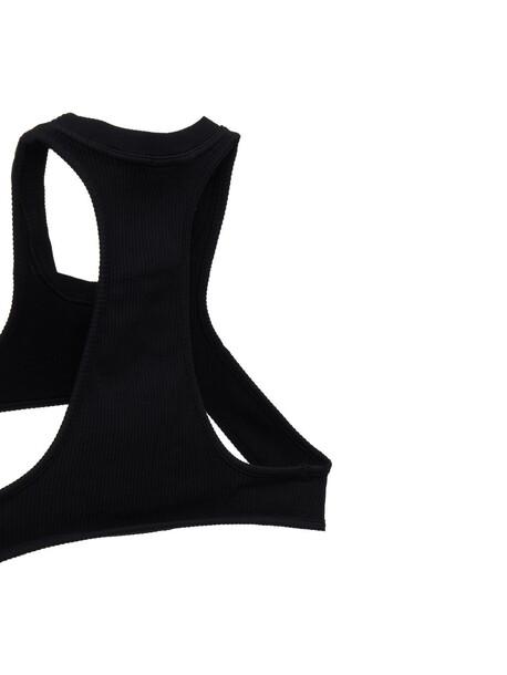 ANDREA ADAMO Ribbed Jersey Harness Top in black