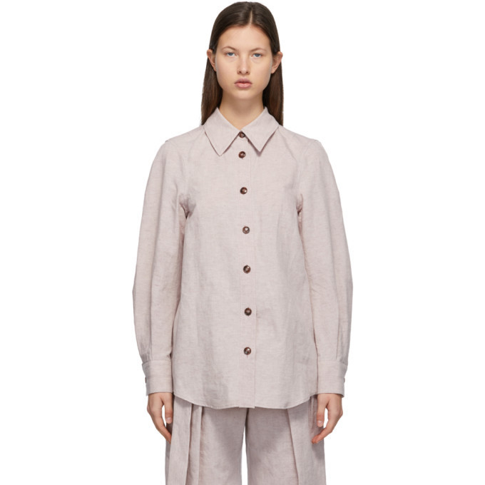 LOW CLASSIC Beige Linen and Cotton Shirt in violet