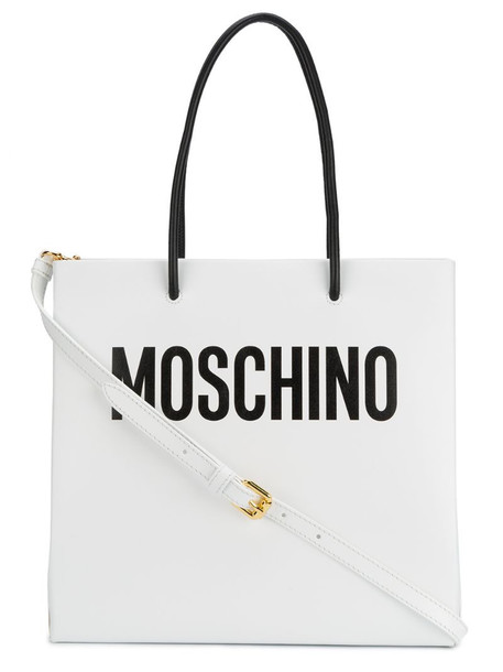 Moschino White logo print tote bag