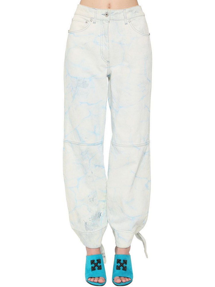 OFF-WHITE Tied Ankles Bleached Wide Leg Jeans in blue