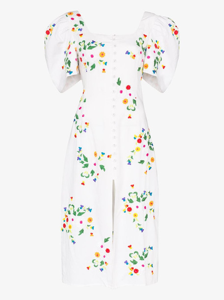 All Things Mochi Marisol floral embroidered midi dress in white