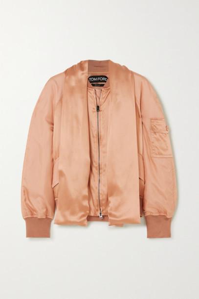 TOM FORD - Draped Silk-satin Bomber Jacket - Peach