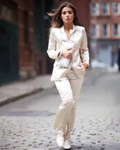 jacket,blazer,double breasted,flare pants,ballet flats,white bag