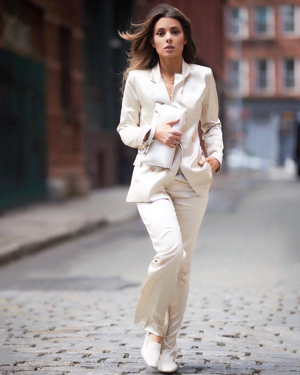 jacket blazer double breasted flare pants ballet flats white bag