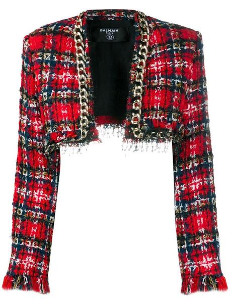 Balmain chain-trim tweed jacket in red