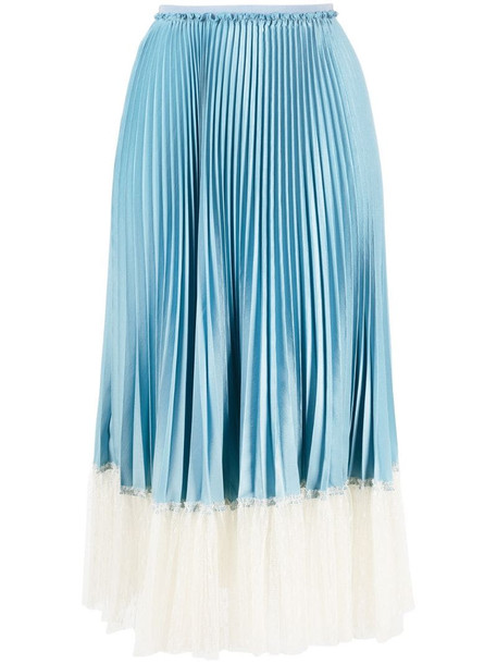 RED Valentino tulle hem pleated skirt in blue