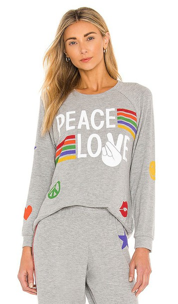 Lauren Moshi Every Peace Love Stripes Pullover in Grey
