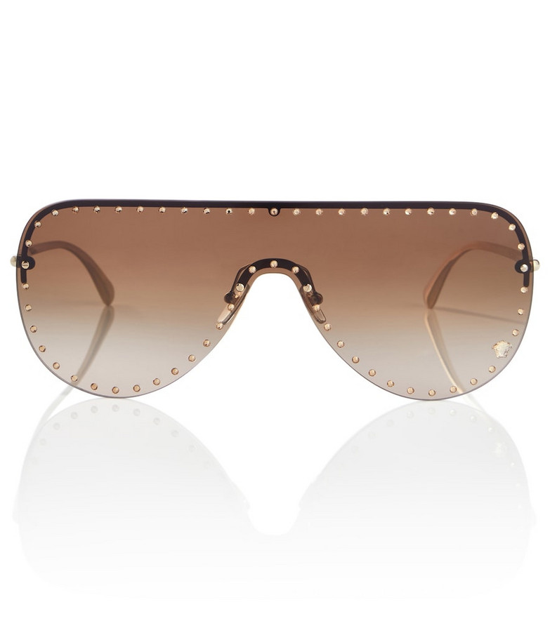 Versace Embellished aviator sunglasses in gold