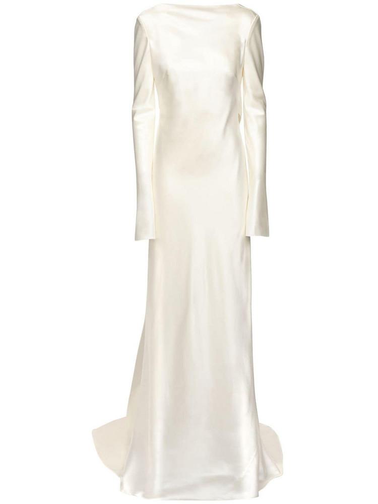 DANIELLE FRANKEL Silk & Wool Long Dress in ivory