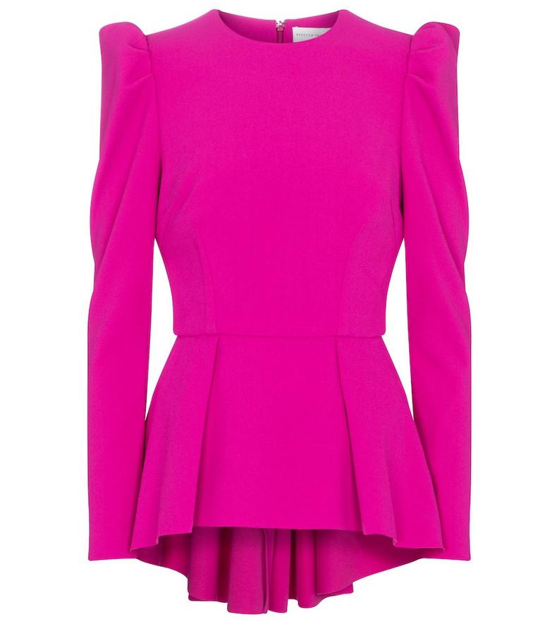 Rebecca Vallance Amina crêpe peplum top in pink
