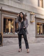 jacket,blazer,satin,black pants,lack blazer,double breasted,plaid,grey blazer,black sandals,black bag,crossbody bag