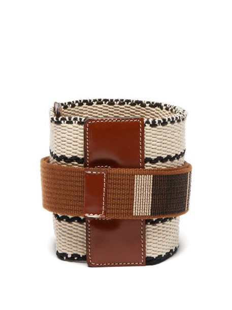 Etro - Wide Woven Cotton And Leather Belt - Womens - Tan