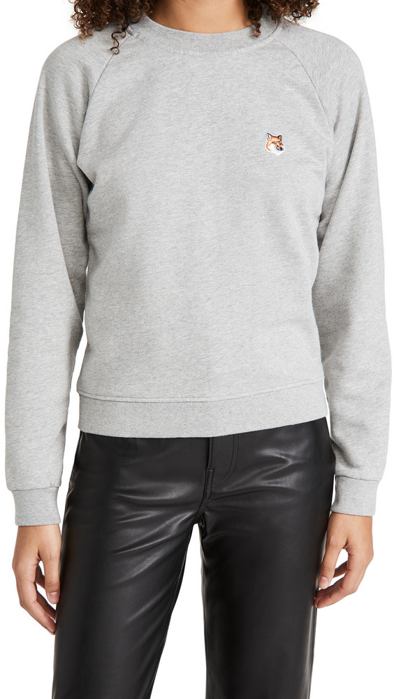 Maison Kitsune Fox Head Patch Sweatshirt in grey