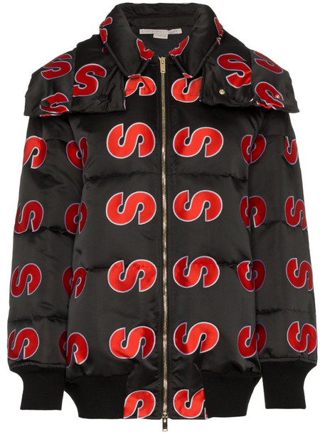 Stella McCartney S embroidered hooded puffer jacket in black