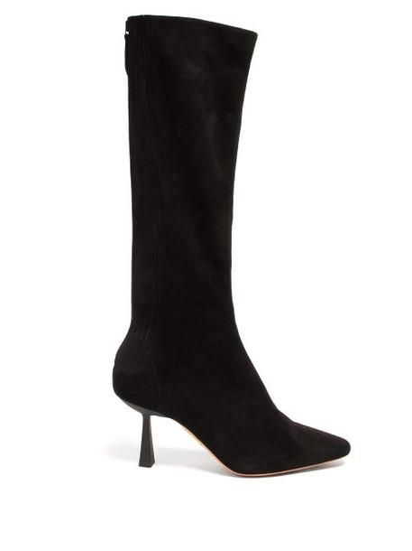 Aquazzura - Curzon 75 Knee-high Suede Boots - Womens - Black