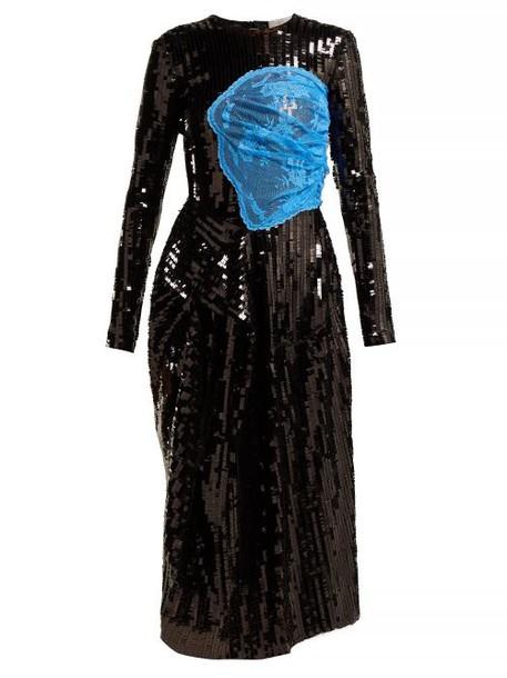 Preen By Thornton Bregazzi - Stephanie Sequinned Panelled Midi Dress - Womens - Black Blue
