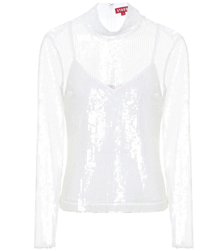 Staud Chaka sequined blouse in white