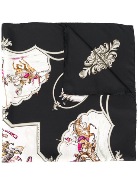 Hermès 1990's pre-owned animals print scarf in black