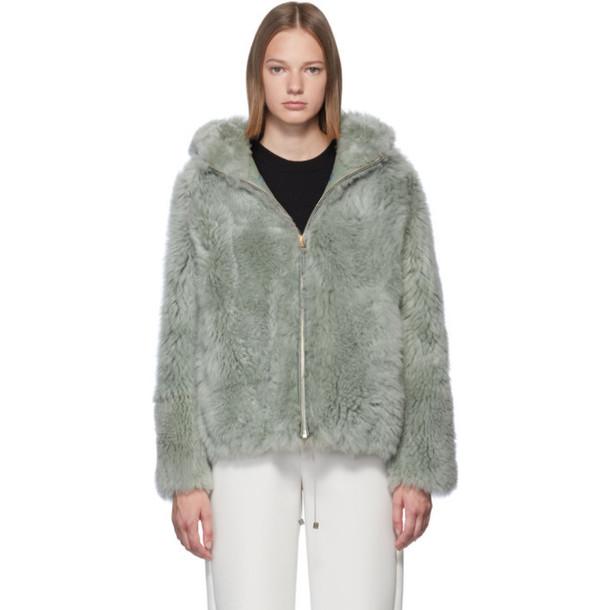 Yves Salomon Green Fluffy Lamb Jacket
