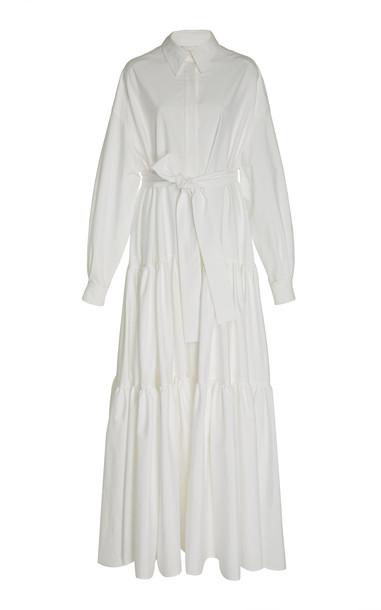 Carolina Herrera Belted Ruffled Cotton-Blend Gown in white