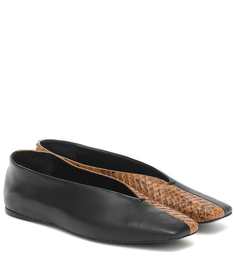 Mercedes Castillo Louann snake-effect leather ballet flats in black