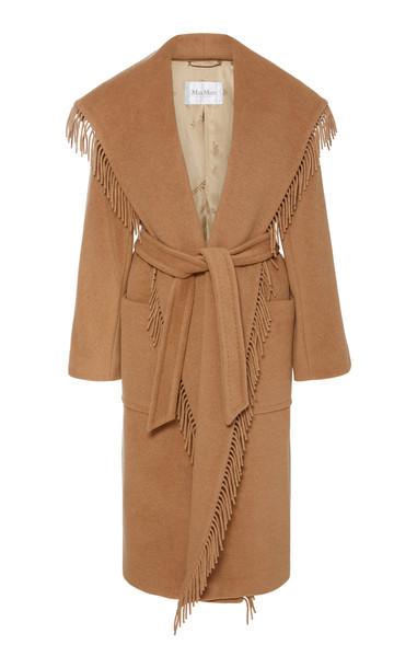 Max Mara Pacos Fringe-Trimmed Wool Coat in brown